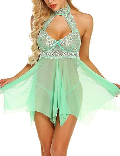 Away Fly Chemise - klier Lingerie for Women Open Front Lace Babydoll Sexy Halter Chemise Green