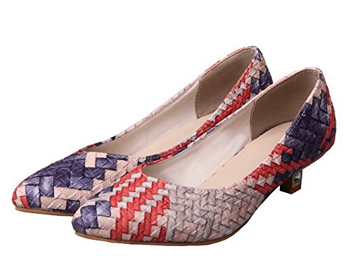 Blend WeiPoot On Low Heels Color Materials Assorted Pull Pumps Blue Shoes Women's Xxnrqw7tUX