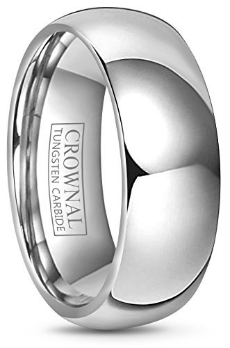 Crownal 4mm 6mm 8mm 10mm Tungsten Wedding Band Ring Men Women Plain Dome Polished Size Comfort Fit Size 3 To 17 (8mm,15) ()