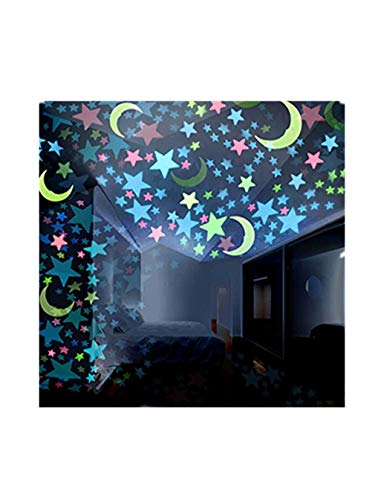 100PC Kids Bedroom Fluorescent Glow in The Dark Stars Moons Home Night Wall Stickers (Random, -