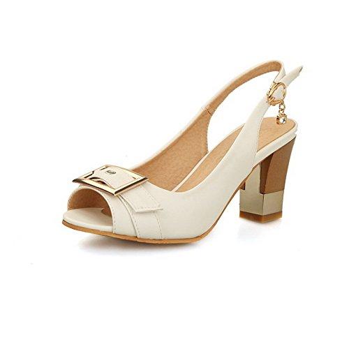 AgooLar Women's Buckle Peep Toe High Heels Pu Solid Sandals White OyslM