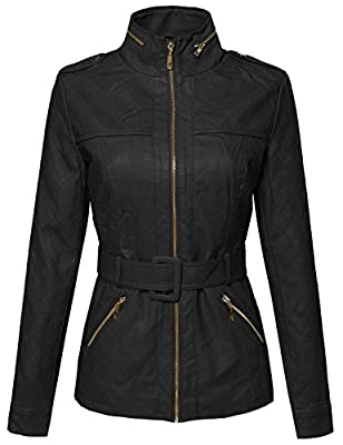 Awesome21 Women's Zipper Motorcycle Biker Faux Leather Jackets