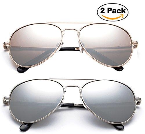 Newbee Fashion - Kyra Kids Popular Aviator Flash/Mirrored Lead Free Fashion Aviator Kids Sunglasses with Spring - Popular Aviator Sunglasses