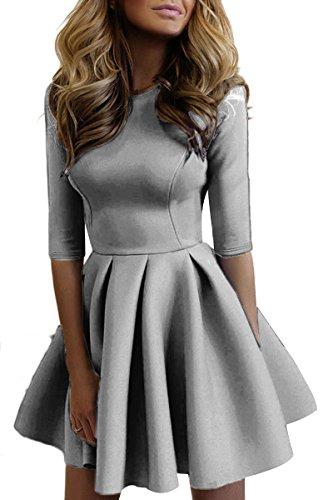 YMING Damen Plissee Kleid 1/2 Arm Cocktailkleid Einfärbig Faltenrock ...