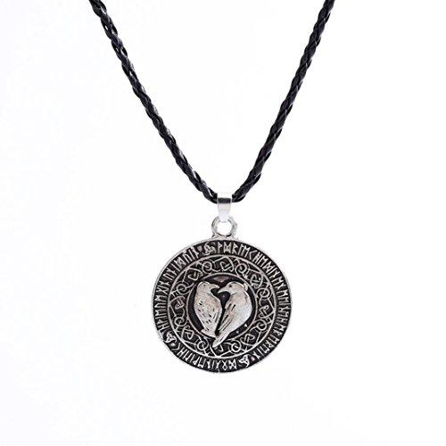 Pendant Necklace Laimeng Norse Viking Pendant Necklace Valknut Raven Pendant Runa Talisman Amulet Knot (Silver)