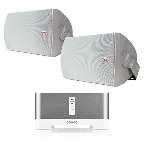 Sonos CONNECT:AMP Wireless Hi-Fi Player (White) with Klipsch AW-650 6.5'' Reference Series Outdoor Loudspeaker - Pair (White) by Sonos