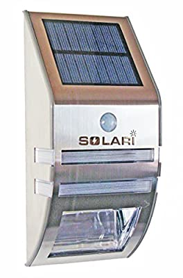 Solari Solar Powered LED Outdoor Night Light and Motion Sensor Security Light for Wall Mounting – Dual Function, Stylish, Stainless Steel, Weatherproof, Wireless, Easy Installation – Perfect for Entranceways, Pathways and Carports – One Year Warranty
