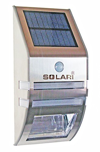 Solari Solar Powered LED Outdoor Night Light and Motion Sensor Security Light for Wall Mounting - Dual Function, Stylish, Stainless Steel, Weatherproof, Wireless, Easy Installation - Perfect for Entranceways, Pathways and Carports - One Year Warranty