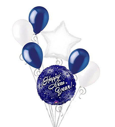 7 pc New Years Eve Midnight Blue Fireworks Balloon Bouquet Party Decoration -