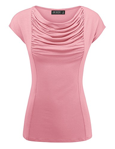 Come Together California WT1726 Womens Short Sleeve Cowl Neck Top - Made in USA S ()