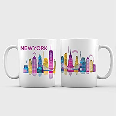 New York City Skyline View Ceramic Coffee Mug - 11 oz. - Awesome New Design Decorative Souvenir Gift Cup for Tourists, Women and Men