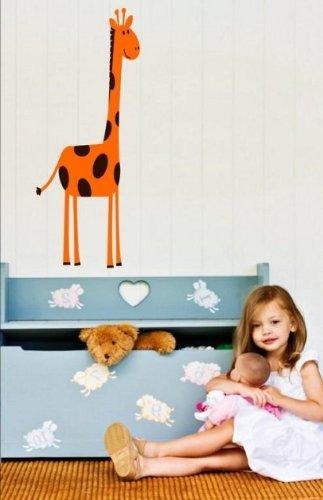 Motif jolie Girafe-Bb/Enfants Chambre Sticker mural, noir/orange, Large: 60cm x 150cm / 24