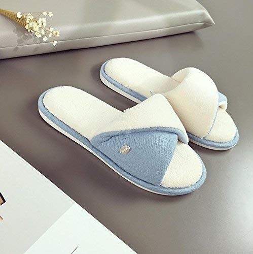 1 JaHGDU Women 's Home Cotton Slippers Indoor Mixed color Warm Casual Slippers bluee Personality Quality for Women