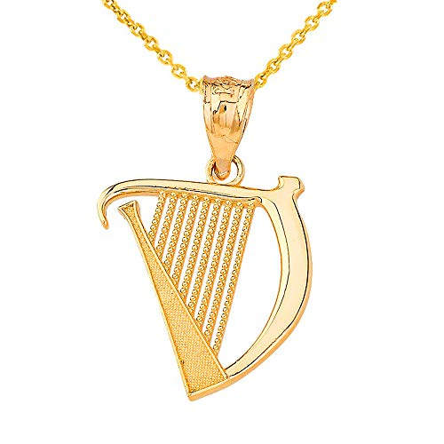 Textured 14k Yellow Gold Harp Music Charm Pendant Necklace, 16