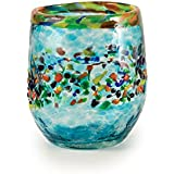 Bambeco Aqua Del Sol Hand-Crafted Blown Recycled Glass 8-ounce Stemless Wine Glass