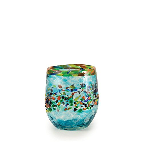 Bambeco Aqua Del Sol Hand-Crafted Blown Recycled Glass 8 ounce Stemless Wine Glass