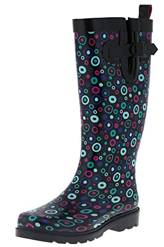 (Capelli New York Ladies Carnival Dots Printed Tall Rain Boots Black Combo 10)