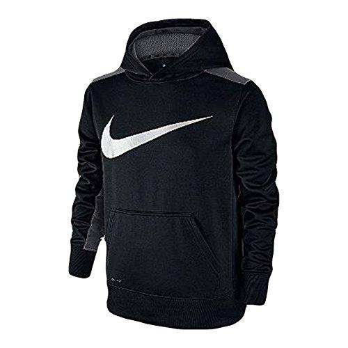 Nike Therma Big Kids' (Boys') Training Hoodie (Medium, Black/Dark Grey)