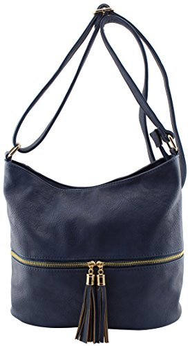 Faux leather womens multi pockets large crossbody bags with tassels (navy) by Amy & Joey