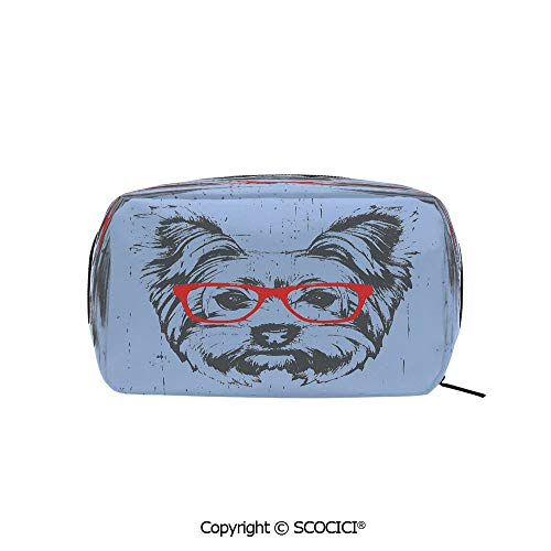 (Rectangle Printed Beauty Cosmetic Bag Pouch Yorkshire Terrier Portrait Red Nerd Glasses Tainted Backdrop Animal Women fashion Toiletry Travel Bag)