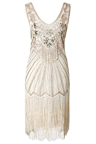 Great Dress 1920s Dress Dress Beige Gatsby Flapper Neck Beaded BABEYOND Women's V Fringed Dresses 7qvUWtwn1