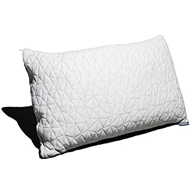Coop Home Goods - PREMIUM Adjustable Loft - Shredded Hypoallergenic CertiPUR-US Memory Foam Pillow with signature Ultra Tech washable removable cooling bamboo derived cover - Made in USA - KING