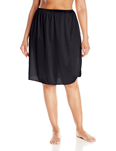 Vassarette Women's Full Figure Tailored Anti-Static Half Slip 11822, Black Sable-24 inch, XX-Large