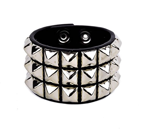 (YDS Accessories 3-Row Silver Pyramid Stud Quality Leather Wristband Bracelet)