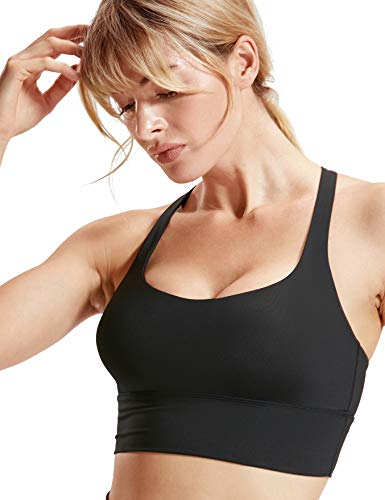 CRZ YOGA Women's Cross Back Wirefree Removable Cups Longline Yoga Sports Bra