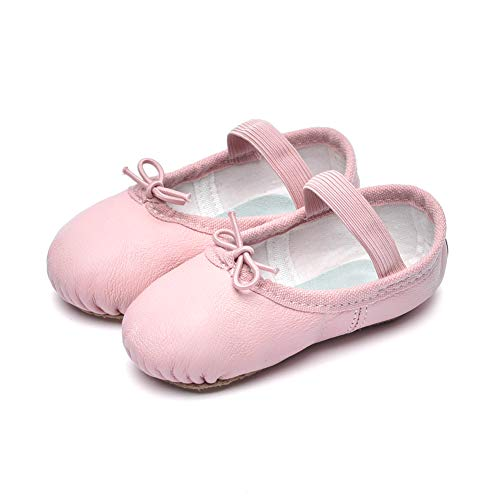 Cute stars Girls Leather Dance Ballet Shoes Slippers for Girls/Kids/Toddlers(1ML,Light Ballet Pink)