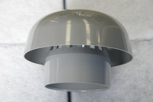 110mm diameter roof cowl, grey plastic ducting, chimney cap, rain hat, hood by Ventilation - Roof Cowl