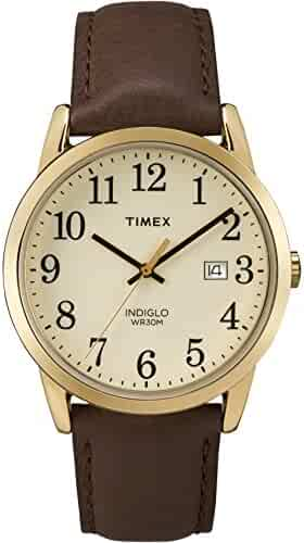 Timex Men's TW2P75800 Easy Reader Brown/Gold-Tone/Cream Leather Strap Watch
