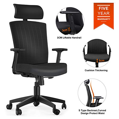 Fabric Ergonomic Office Chair - Komene ergonomic Office Chair High Back Mesh Desk Chair with Adjustable Seat Height Headrest Lumbar Support Swivel Computer Chair for Home Office Study, High Back,Black