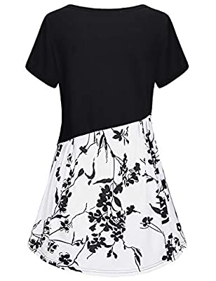 AxByCzD Women's Short Sleeve Color Block Flare Floral Printed Tunic Dress