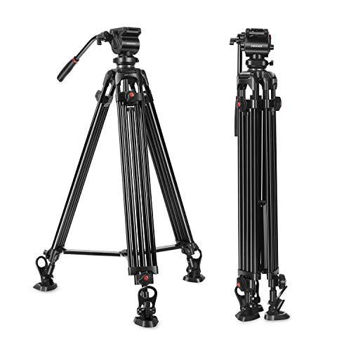 (Professional Video Tripod,ASHANKS 74inch Fluid Head Tripod for Heavy Camera Camcorder,Horseshoe Rubber Feet,All Metal Design Twin Tube Aluminium Tripod Max Loading 15.4Lb)