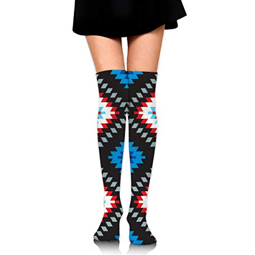 Women Outer Colorful Patchwork Mosaic Oriental Kilim Rug With Traditional Folk Geometric Ornament. Tribal Style Stary Tube Socks High Stockings for Girls High Long Soccer Socks - Rug Traditional Ornament