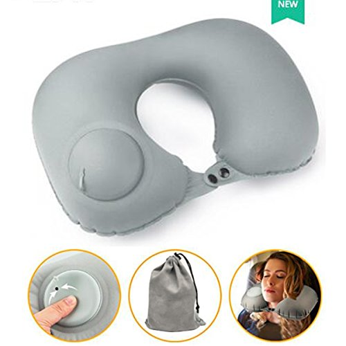 YHModel Press Pump Inflatable Travel Pillow For Airplane U Shape Pillow Neck Support Kids Sleeping Simple Portable Neck Cushion Pillows (Gray)