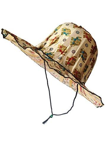 [Thai handmade traditional Art Elephant Nylon&Bamboo FOLDABLE Outdoor Fishing Beach Summer Sun Hat Wide Brim for] (Aztec Dancers Costumes)