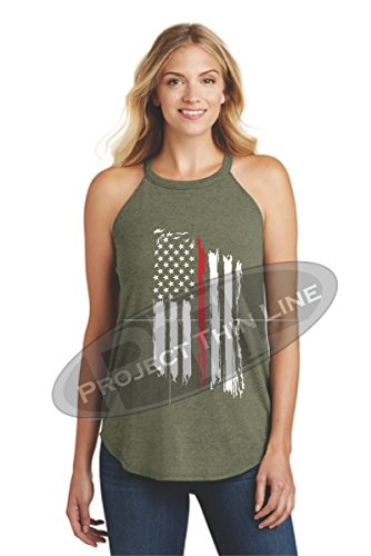Women's Tattered American Flag Thin RED Line Firefighter Rocker Tank TOP - Front (XXX-Large, Green Frost)