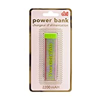 "DCI ""You Got This"" Glitter Power Bank, Pink and Green, 2200mAh capacity, USB and Mini USB Charger Included, Compatible with iPhone and Android models"