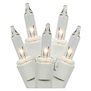 LiteSource 00888 - 15 Light White Wire Clear Battery Operated Miniature Christmas Light String Set