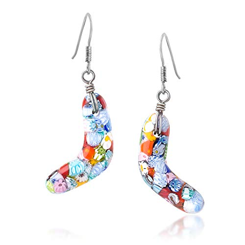 - 925 Sterling Silver Millefiori Murano Glass Multi-Colored Boomerang Dangle Earrings 1.9""
