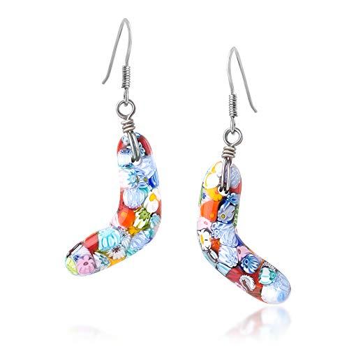 925 Sterling Silver Millefiori Murano Glass Multi-Colored Boomerang Dangle Earrings 1.9