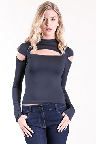 CNC Style Women's High Neck Cut Out Off Shoulder Long Sleeve Knitted Top Tee Shirt (Medium, Coral Black)