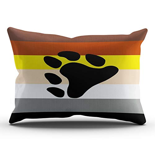 - XIAFA Home Custom Pillowcase Paw Prints in Colorful Stripes Simple Decorations Sofa Throw Pillow Case Cushion Cover One Sided Printed Design King 20X36 Inches (Set of 1)
