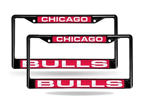Chicago Bulls NBA Black Metal (2) Laser License Plate Frame (Bulls License Plate Frame)