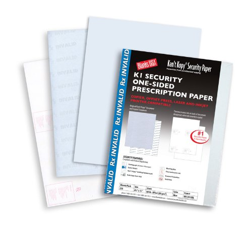 Security Sheets - Kant Copy Security Rx Invalid 60 lb Offset Uncoated Blue 8.5 x 11 Sheets 250 per Package