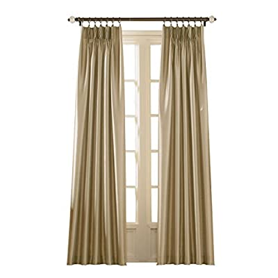 """Curtainworks Marquee Curtain Panel, 30 by 108"""", Sand (Champagne Beige) - Lined faux silk fabric with subtle shimmer and pinch-pleat construction 100% Polyester 4-inch wide back tabs - living-room-soft-furnishings, living-room, draperies-curtains-shades - 41Glm%2BzOj L. SS400  -"""
