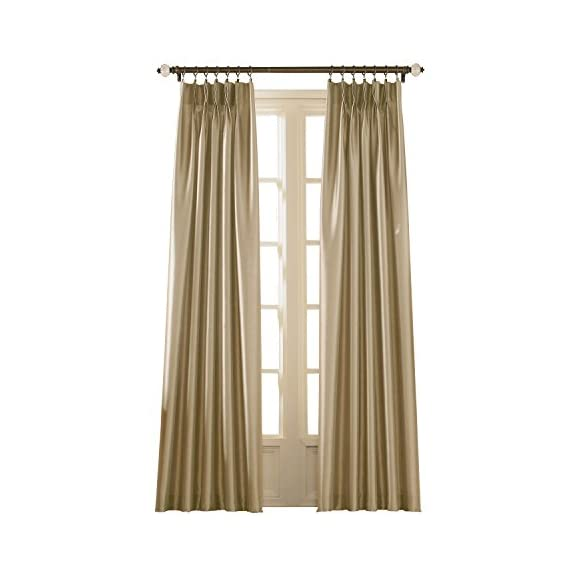 """Curtainworks Marquee Curtain Panel, 30 by 108"""", Sand (Champagne Beige) - Lined faux silk fabric with subtle shimmer and pinch-pleat construction 100% Polyester 4-inch wide back tabs - living-room-soft-furnishings, living-room, draperies-curtains-shades - 41Glm%2BzOj L. SS570  -"""