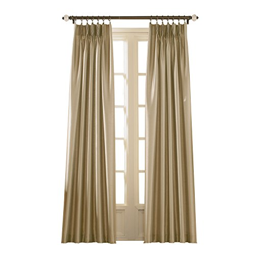"Curtainworks Marquee Faux Silk Pinch Pleat Curtain Panel, 30 by 108"", Sand"